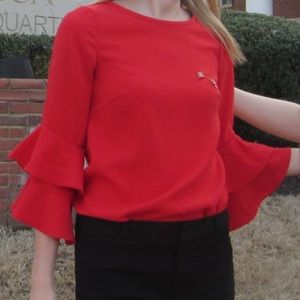 J Crew Blouse with Ruffle Sleeves